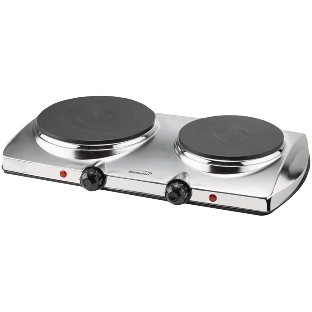 1440W 2-Burner 7.5 in. Silver Electric Hot Plate