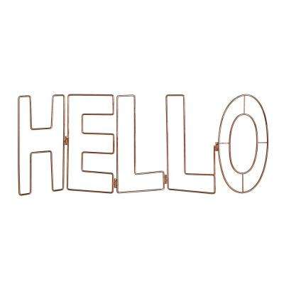 "31 in. x 12 in. ""Rose Gold Hello"" Metal Wall Art"