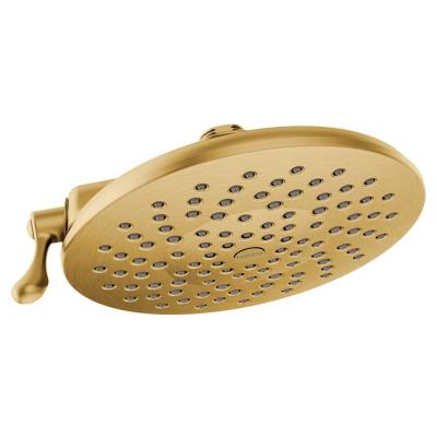 Velocity 2-Spray 8 in. Single Wall Mount Fixed Adjustable Spray Shower Head in Brushed Gold