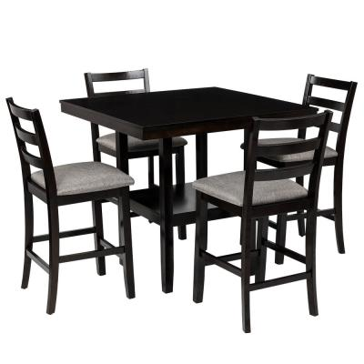 5-Piece Black Wood Counter Height Dining Set with Padded Burlap Chairs