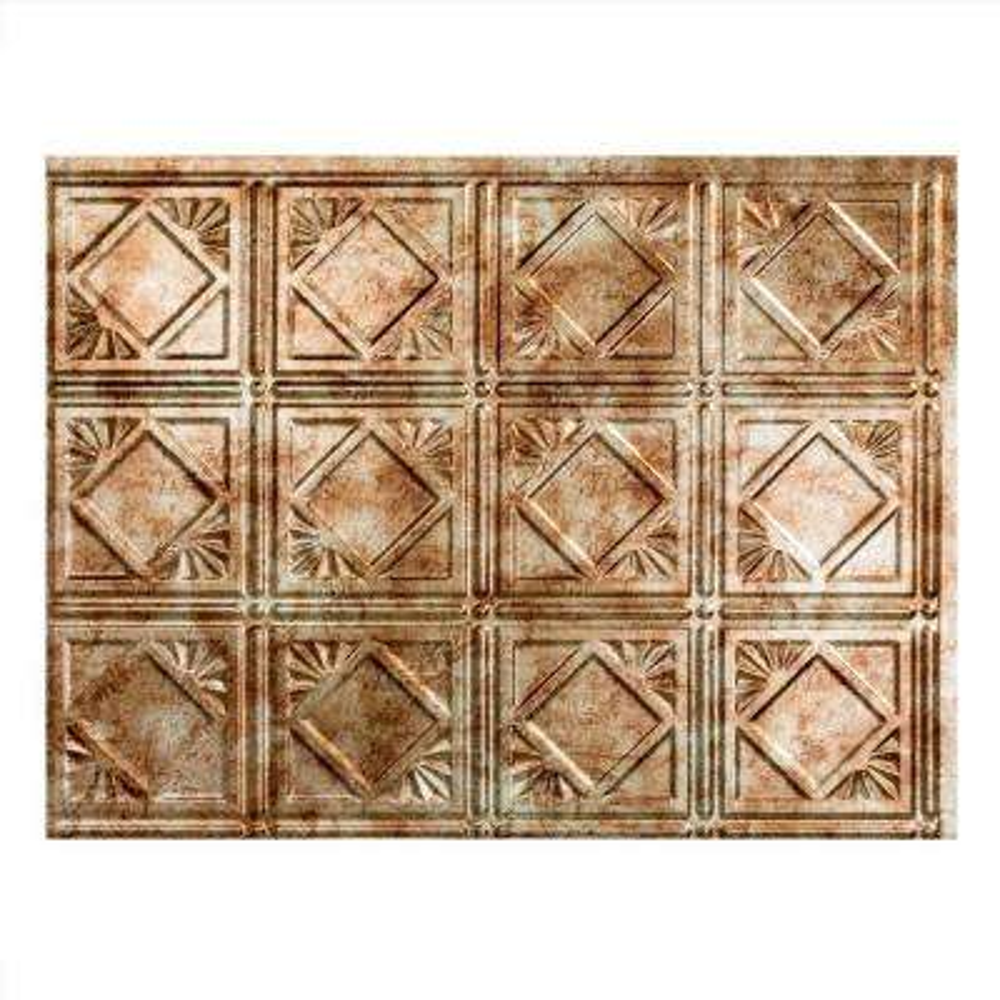 Traditional 4 18 in. x 24 in. Bermuda Bronze Vinyl Decorative Wall Tile Backsplash 18 sq. ft. Kit