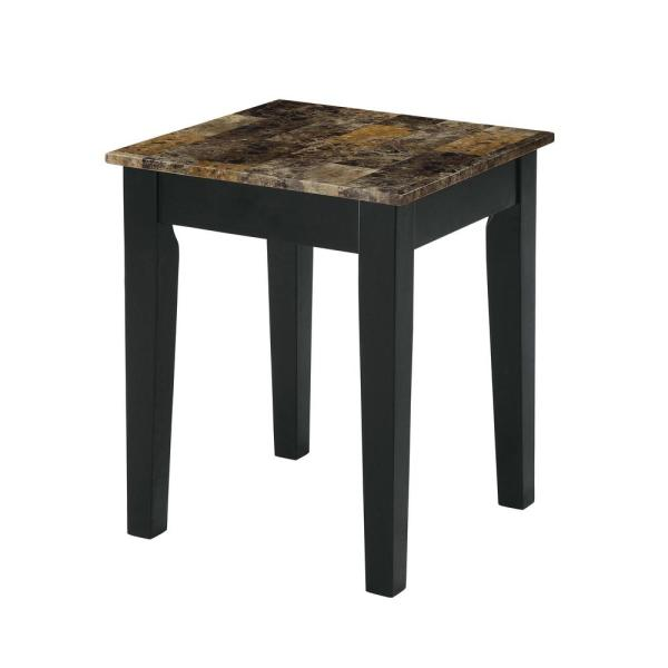 Acme Furniture Dusty II Dark Brown Faux Marble and Black End