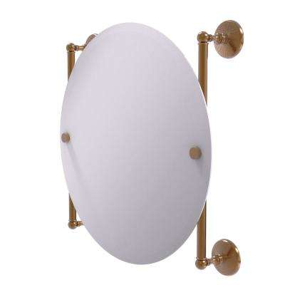Monte Carlo Collection 22 in. x 22 in. Round Frameless Rail Mounted Mirror in Brushed Bronze