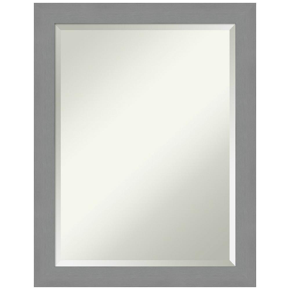 21.5 in. x 27.5 in. Brushed Nickel Bathroom Vanity Mirror