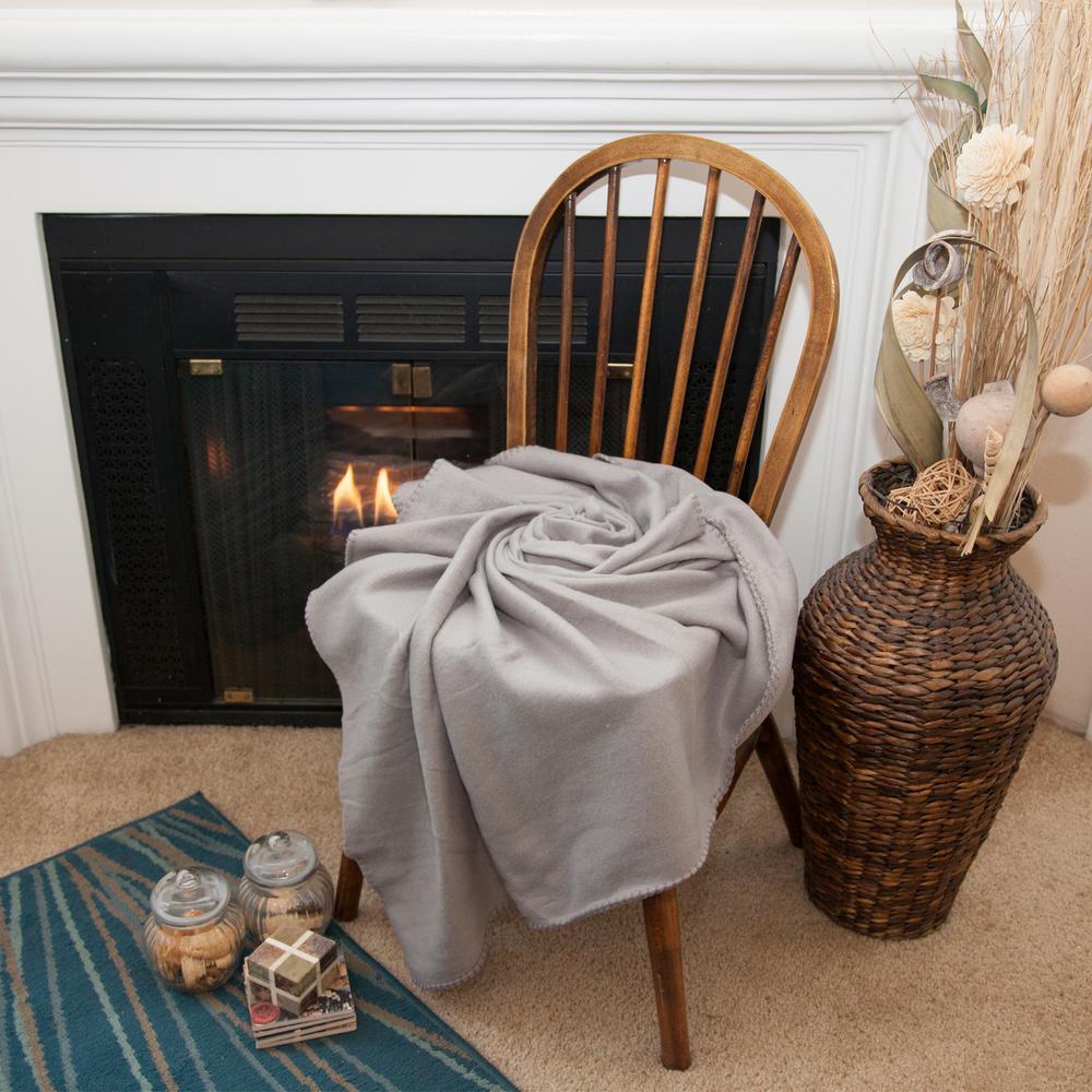 50 in. x 60 in. Gray Super Soft Fleece Throw Blanket (24-Pack)