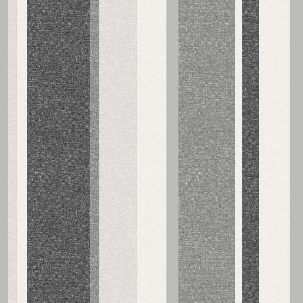 Beacon House Raya Black Linen Stripe Wallpaper Sample 2535-20636SAM