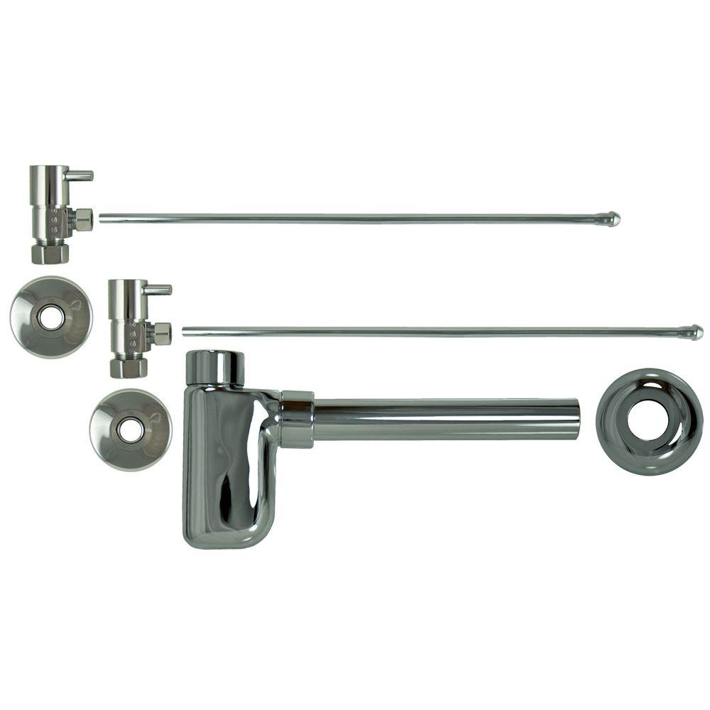 Barclay Products 3/8 in. x 20 in. Brass Lavatory Supply Lines with Lever Handle Shutoff Valves and Decorative Trap in Polished Chrome Barclay provides all your essential bathroom needs. Replace unsightly plumbing under your exposed sink with this decorative lavatory trap and supplies. Enjoy the convenience of accessible water shut-off. Color: Polished Chrome.