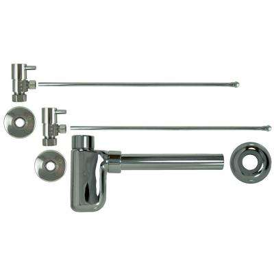 3/8 in. x 20 in. Brass Lavatory Supply Lines with Lever Handle Shutoff Valves and Decorative Trap in Polished Chrome