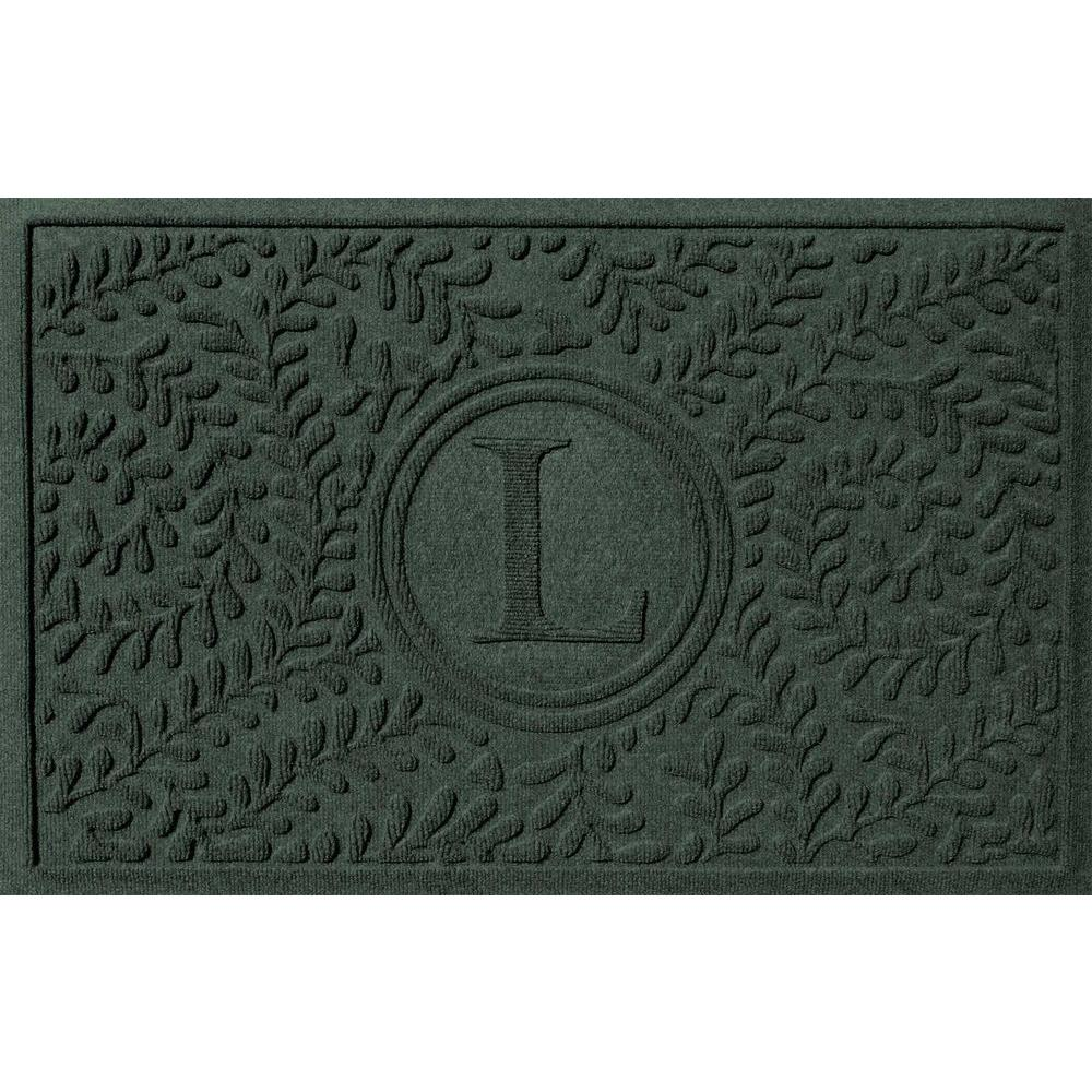 Boxwood Evergreen 24 in. x 36 in. Monogram L Door Mat