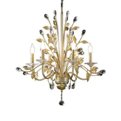 6-Light Gold Crystabranch Ceiling Lamp