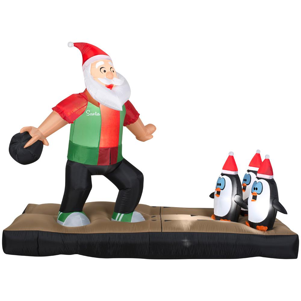 Home accents holiday 10 5 ft inflatable santa bowling for Home depot inflatable christmas decorations