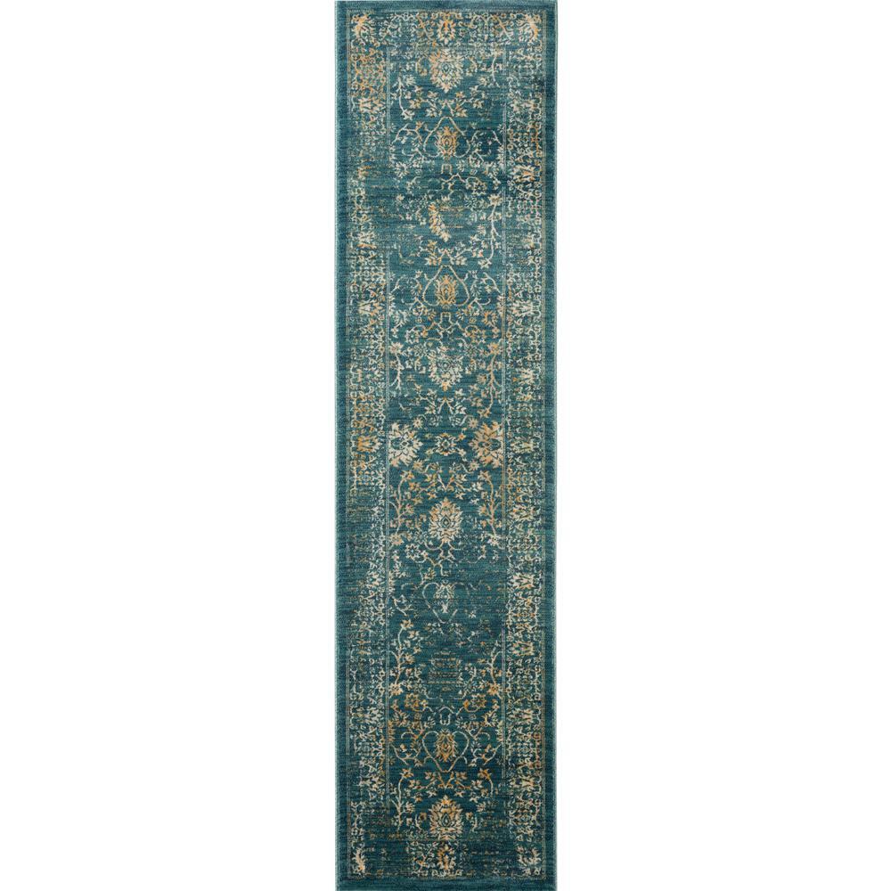 Evoke Light Blue/Beige 2 ft. x 8 ft. Runner Rug