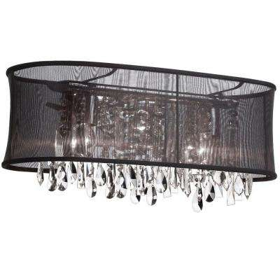 Bohemian 4-Light Polished Chrome Vanity Light with 26 Strands Clear Crystals and Oval Black Organza Shade