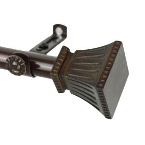 Rod Desyne 120 inch - 170 inch Telescoping Curtain Rod in Cocoa with Trumpet Finial by Rod Desyne