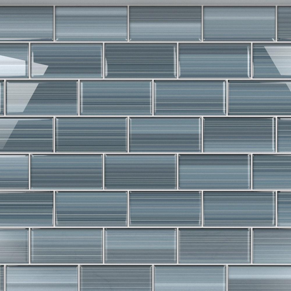 - Bodesi Deep Ocean 3 In. X 6 In. Glass Tile For Kitchen Backsplash