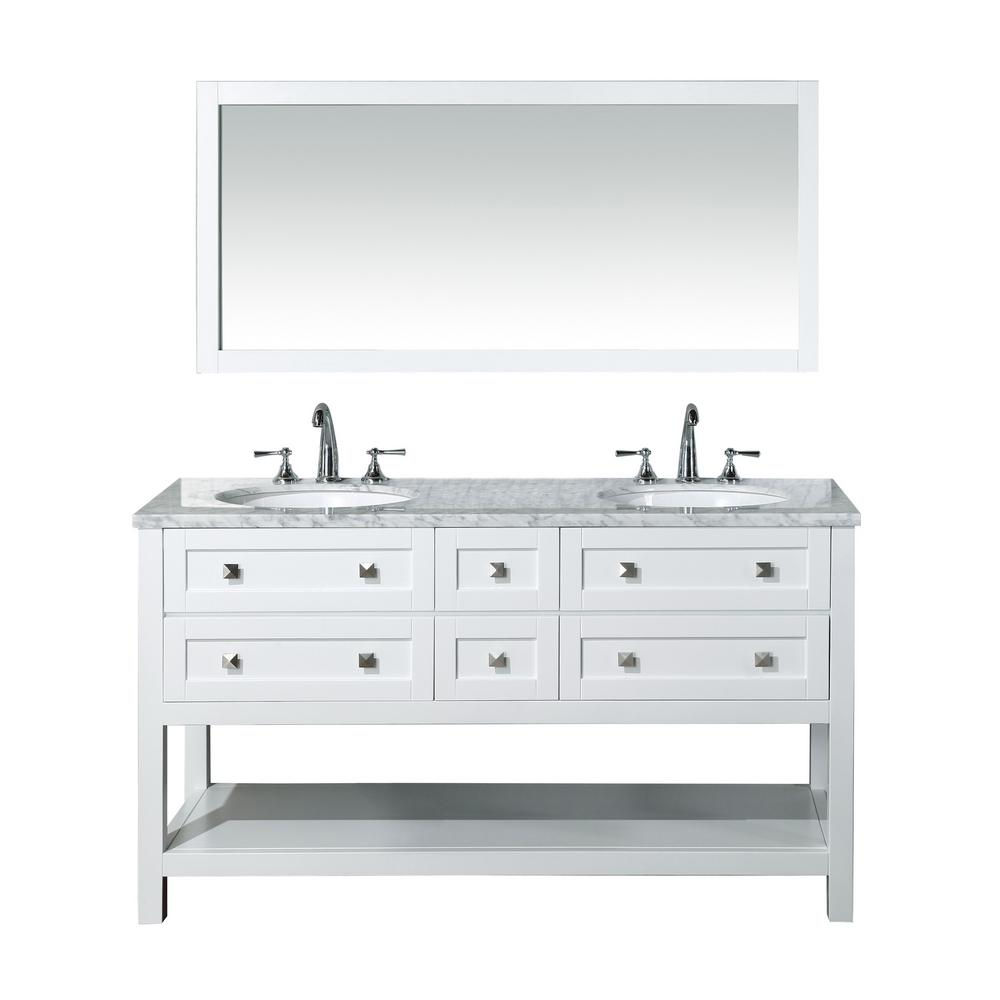 stufurhome Marla 60 in. W x 22 in. D Vanity in White with Marble Vanity Top in Carrara White and Mirror