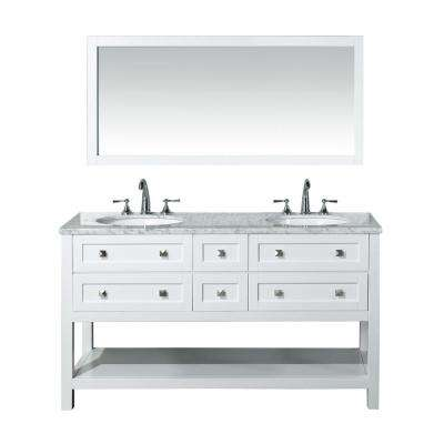 Marla 60 in. W x 22 in. D Vanity in White with Marble Vanity Top in Carrara White and Mirror