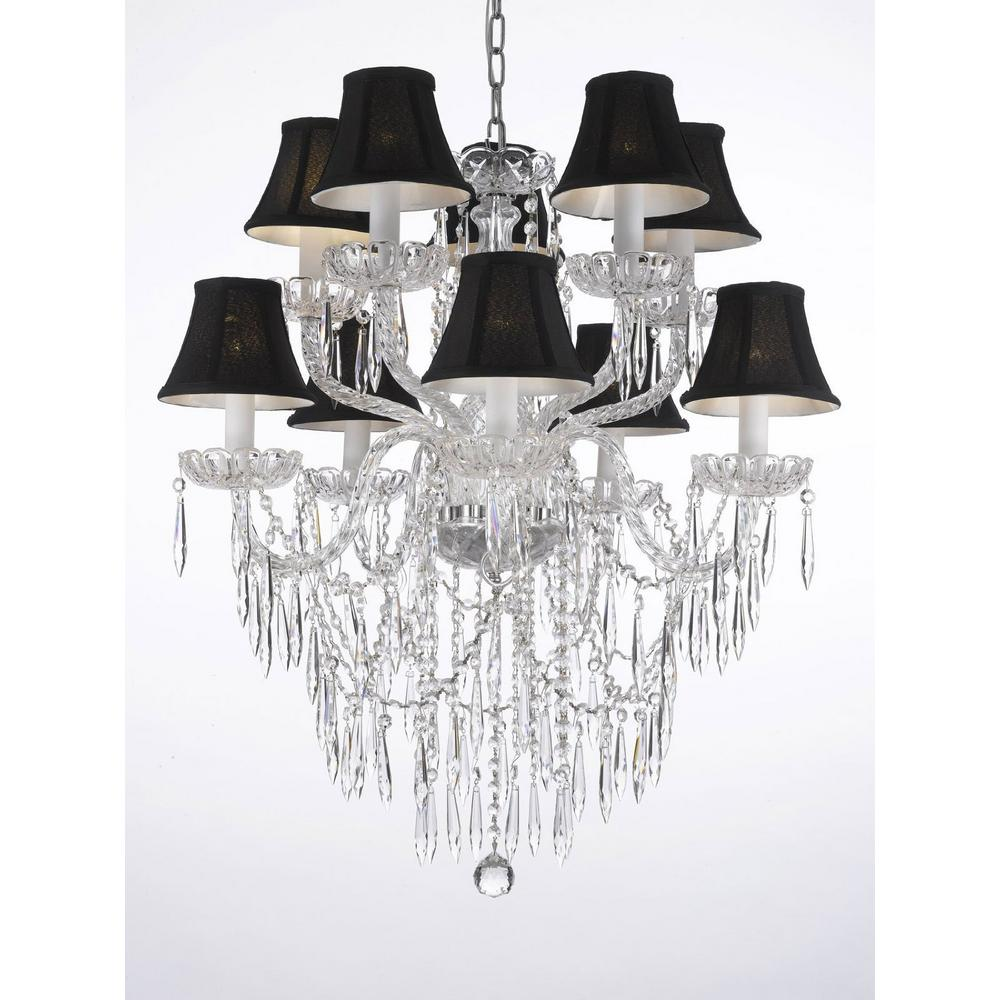 Harrison Lane Empress 10 Light Clear Crystal Plug In Chandelier With Icicles And Black Shades