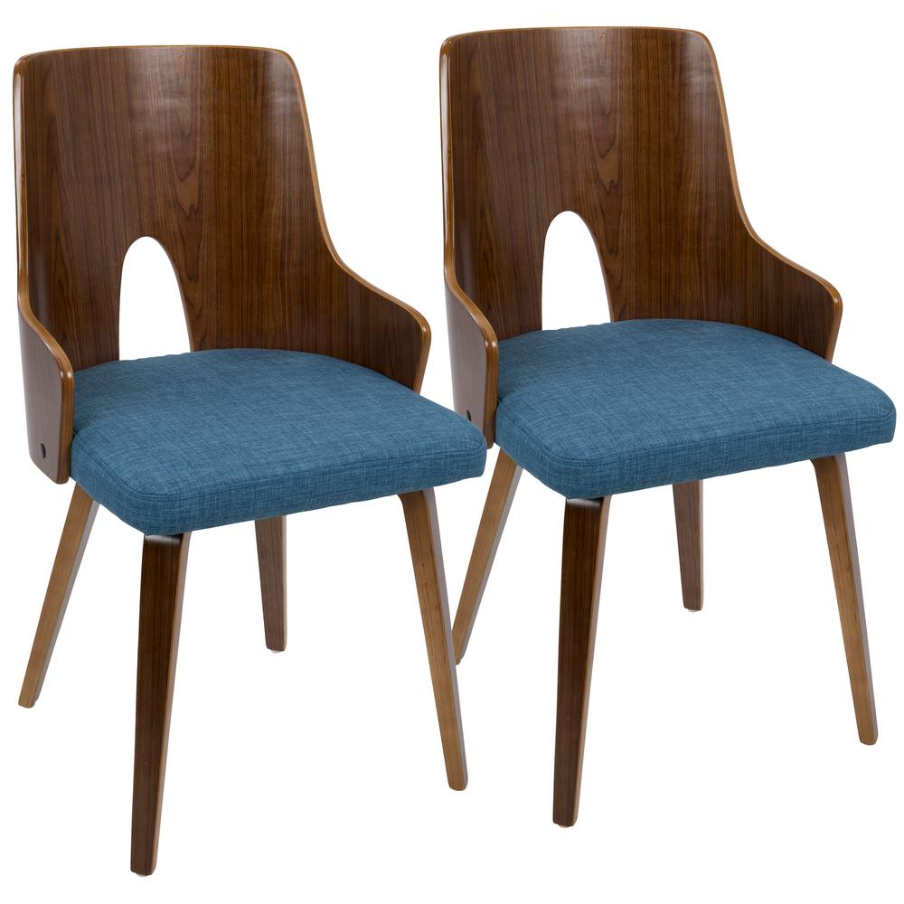 Lumisource Ariana Walnut And Blue Accent Chair (Set Of 2)