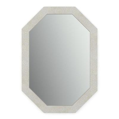 33 in. x 46 in. (L3) Octagonal Framed Mirror with Standard Glass and Easy-Cleat Float Mount Hardware in Stone Mosaic