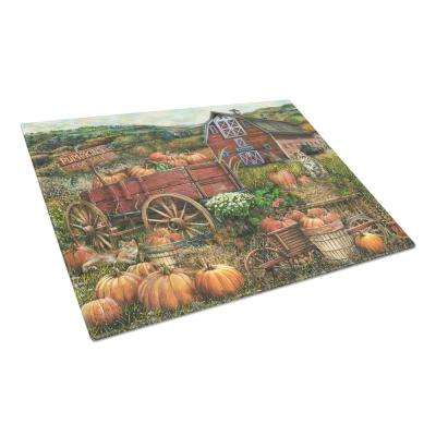Pumpkin Patch and Fall Farm Tempered Glass Large Cutting Board