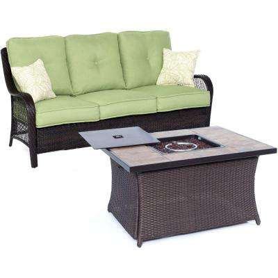 Orleans 2-Piece All-Weather Wicker Patio Fire Pit Seating Set with Avocado Green Cushions