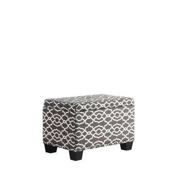 17 in. Brown/White Trellis Storage Ottoman with 1-Storage Seating