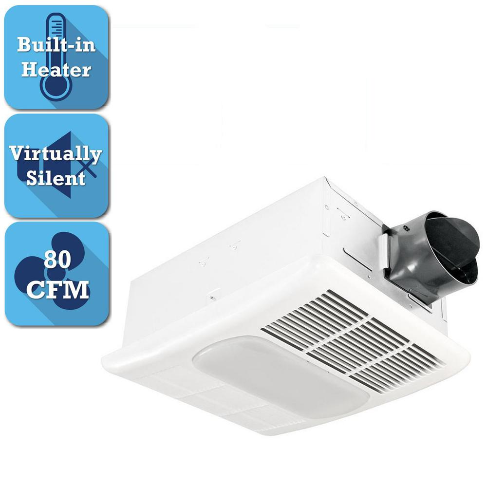 Delta Breez Radiance Series 80 CFM Ceiling Bathroom Exhaust Fan with Light and Heater