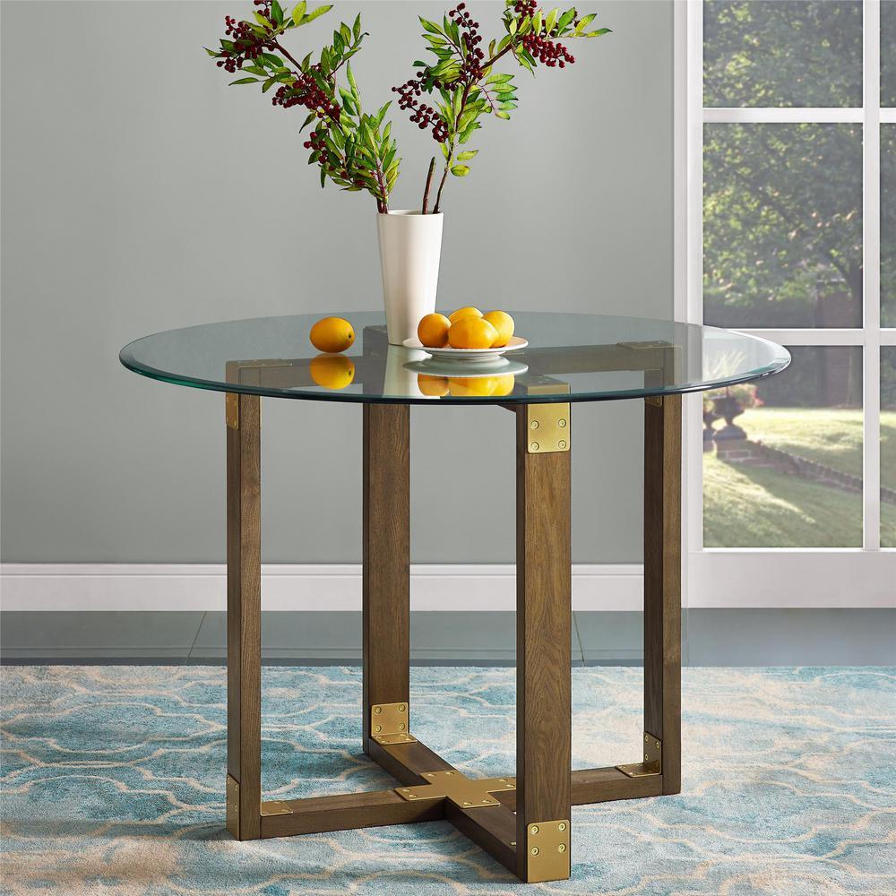 Dorel Living Twila Rustic Oak Gl Top Dining Table Fh7805