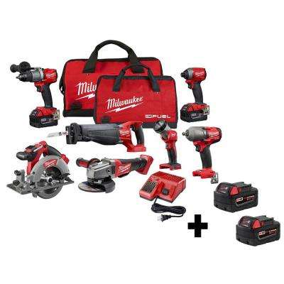 M18 FUEL 18-Volt Lithium-Ion Brushless Cordless Combo Kit (7-Tool) with Four M18 5.0 Ah Batteries