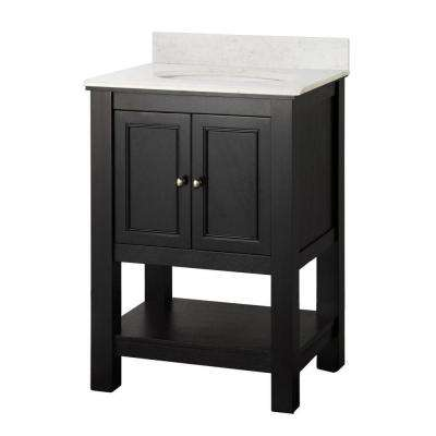 Gazette 25 in. W x 22 in. D Vanity in Espresso with Marble Vanity Top in Carrara and White Basin