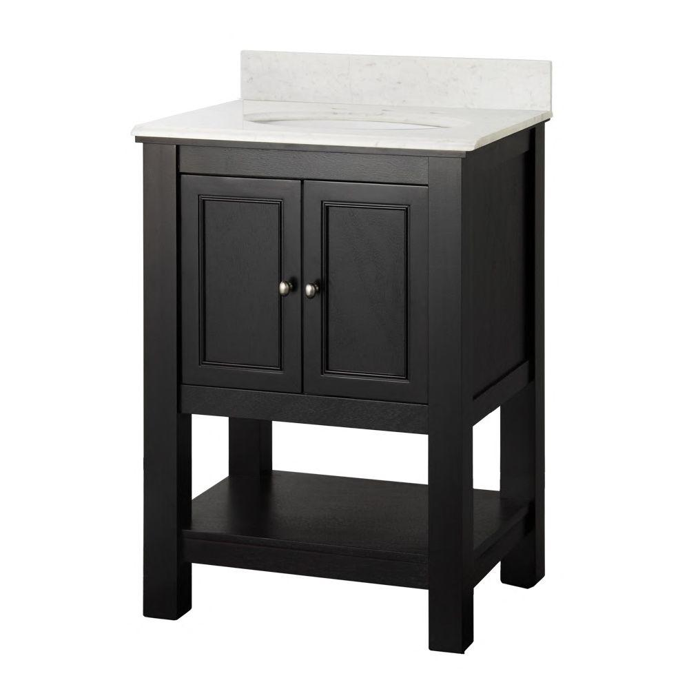 Home Decorators Collection Gazette 25 in. W x 22 in. D Vanity in Espresso with Marble Vanity Top in Carrara and White Sink