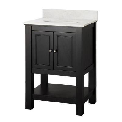Gazette 25 in. W x 22 in. D Vanity in Espresso with Marble Vanity Top in Carrara and White Sink