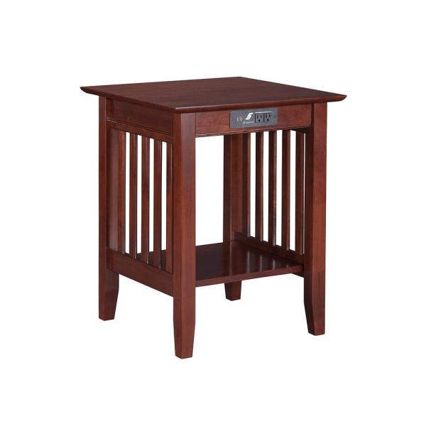 Atlantic Furniture Mission Walnut Printer Stand with Charging Station