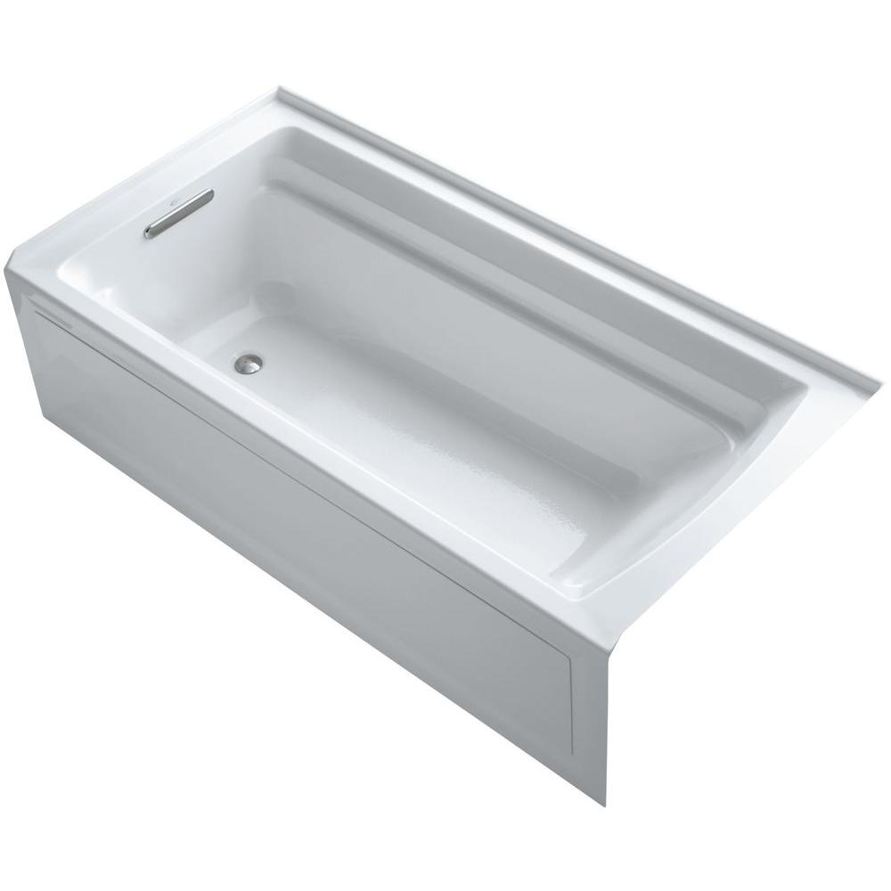 KOHLER Archer VibrAcoustic 6 ft. Left Drain Soaking Tub in White with Bask Heated Surface