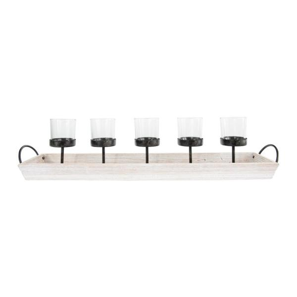 Off-White Metal Votive Candle Holder (Set of 5 on Wood Tray)
