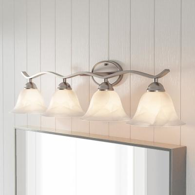 Andenne 4-Light Brushed Nickel Bath Vanity Light with Bell Shaped Marbleized Glass Shades