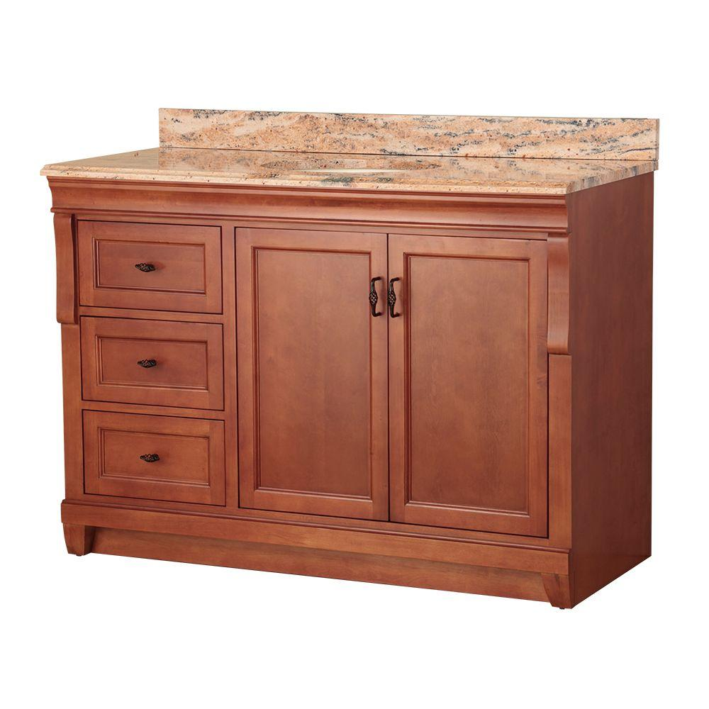 Foremost Naples 49 in. W x 22 in. D Vanity in Warm Cinnamon with Left Drawers with Vanity Top and Stone Effects in Bordeaux