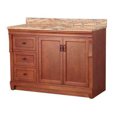 Naples 49 in. W x 22 in. D Vanity in Warm Cinnamon with Left Drawers with Vanity Top and Stone Effects in Bordeaux