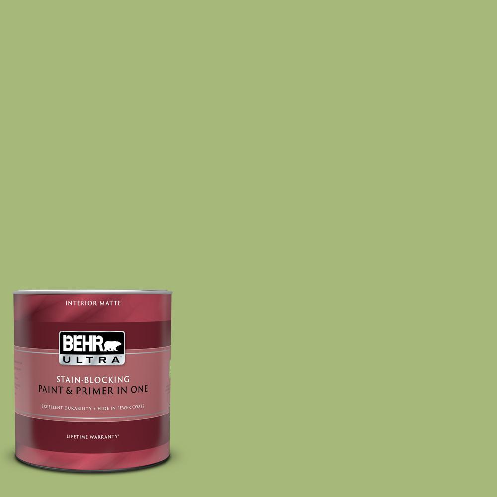 BEHR ULTRA 1 qt. #P370-5 Lazy Caterpillar Matte Interior Paint and Primer in One