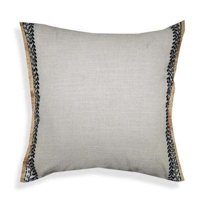 A1HC Light Grey Embroidered with Jute Fringes 20 in. Cotton Throw Pillow