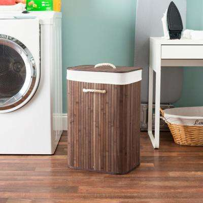 Brown Rectangular Bamboo Hamper with Lid