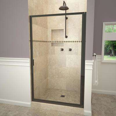 1100 Series 28-3/8 in. W x 63-1/2 in. H Framed Pivot Shower Door in Oil Rubbed Bronze with Pull Handle and Clear Glass