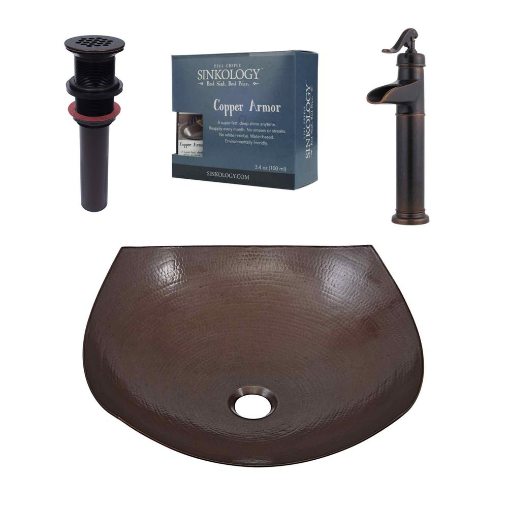 SINKOLOGY Pfister All-In-One Copper Vessel Sink Lovelace Design Kit ...