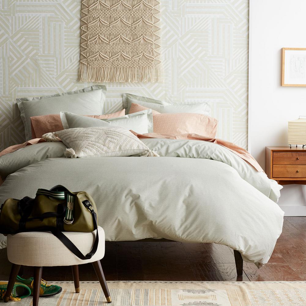 Marble Seafoam Geometric Cotton Percale Queen Duvet Cover