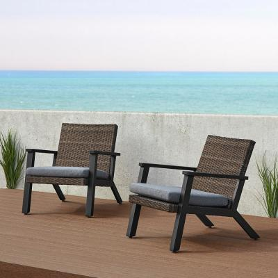 Norwood Black Deep-Seated Aluminum Outdoor Casual Lounge Chair with Gray Cushions (2-Pack)