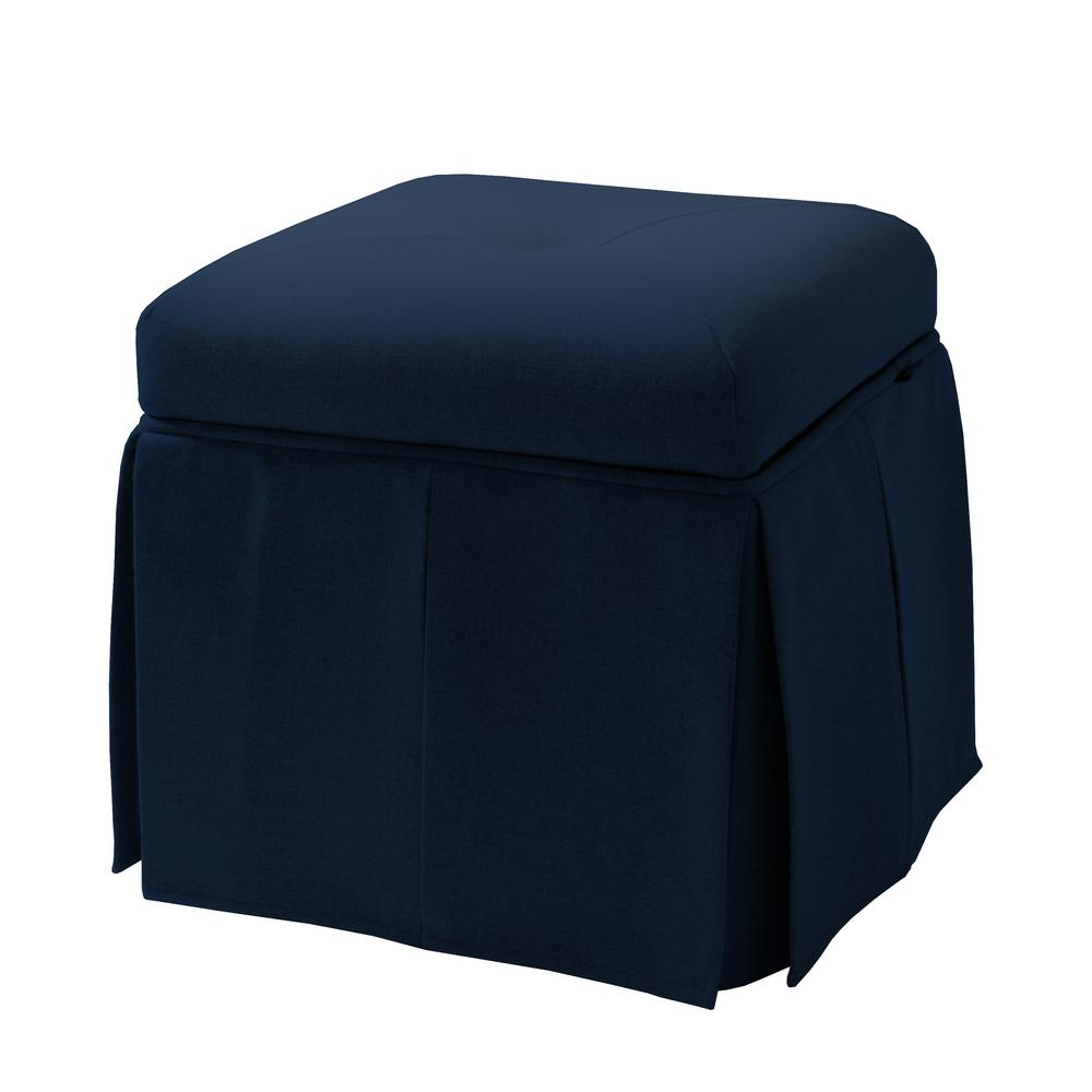 Stacy Midnight Blue Storage Vanity Stool