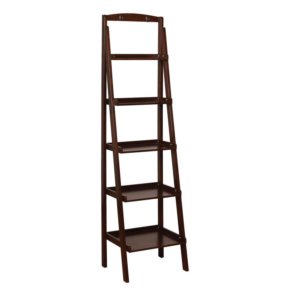 Furniture Of America Nicole Espresso 5 Tier Ladder Shelf