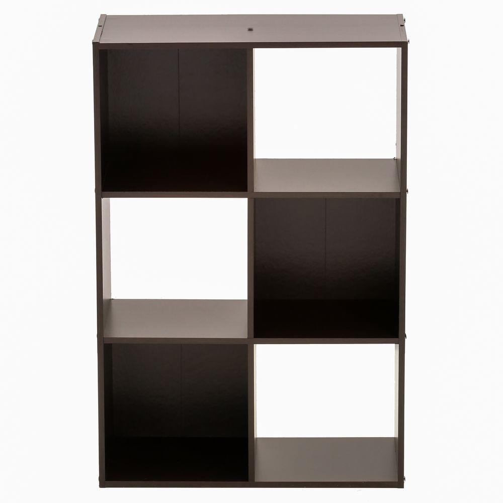 36 in. x 24 in. Espresso Stackable 6-Cube Organizer