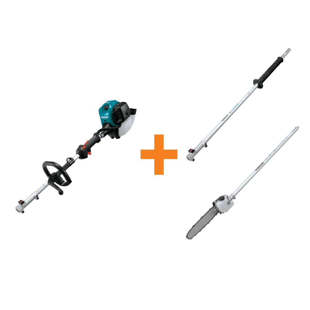 Makita 25.4 cc MM4 4-Stroke Couple Shaft Power Head and 42 in. Shaft Extension Attachment and 10 in. Pole Saw Attachment